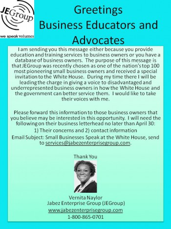 Small Businesses Speak at the White House (Educators and Advocates)